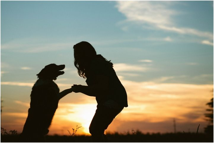 erica houck photography senior portrait shoot photoshoot session puppy dog owner with dog dancing in the sunset love best friend