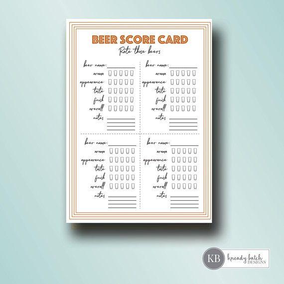 Printable Beer Tasting Score Cards Beer Tasting Party 5x7 Instant Download Beer Tasting Parties Beer Tasting Beer Tasting Party Printables