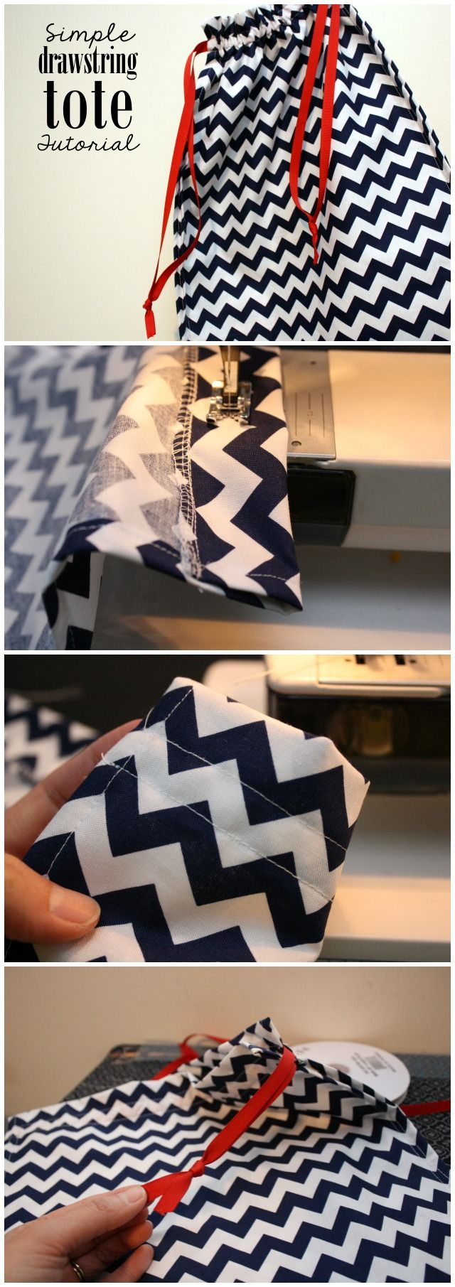 Great beginner sewing project. Easy drawstring tote tutorial