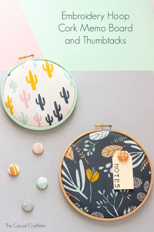 Embroidery Hoop Cork Memo Board and Thumbtacks - easy and cute craft project for the office, craft room, or kids' bedroom using Americana Multi-Surface and embroidery hoops!