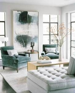 A sublimely elegant living room and the fabrics on the furniture not only match the painting, but look as if they were custom-dyed to match it. This room was designed by San Francisco-based interior designer Matthew Leverone