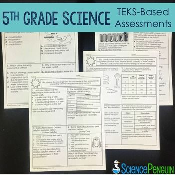 5th Grade Science TEKS Based Assessments by The Science Penguin