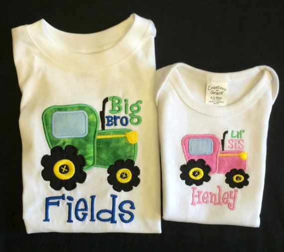 Custom appliqued brother and sister tractor by BoutiqfullyYours