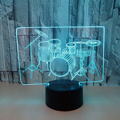 Drum Set Light 3D LED Night Light Lamps by King's Bridal A Great Nightlight with a Soft Glow for Kids Home Decor Musical Lamp Xmas Gifts to Boys Adults Friends #Drum #Light #Night #Lamps #King's #Bridal #Great #Nightlight #with #Soft #Glow #Kids #Home #Decor #Musical #Lamp #Xmas #Gifts #Boys #Adults #Friends
