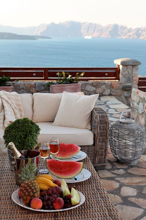 Breakfast at the Villa, Santorini, Greece ❤