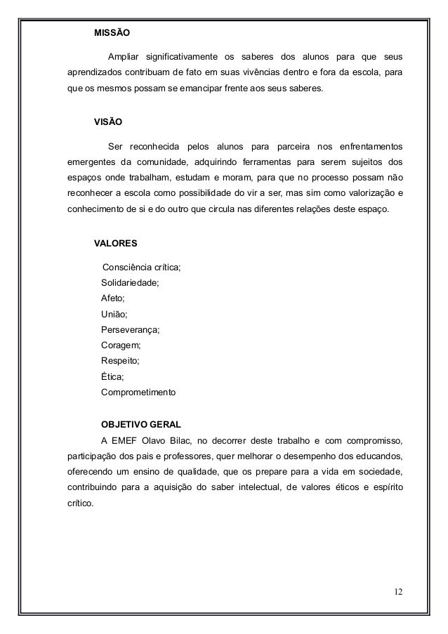 Projeto Político Pedagógico (PPP 2014)/EMEF Olavo Bilac