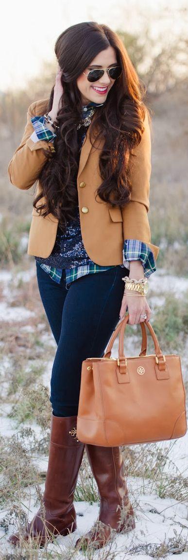 Camel blazer, sequin top, plaid button-up, dark skinnies, brown boots