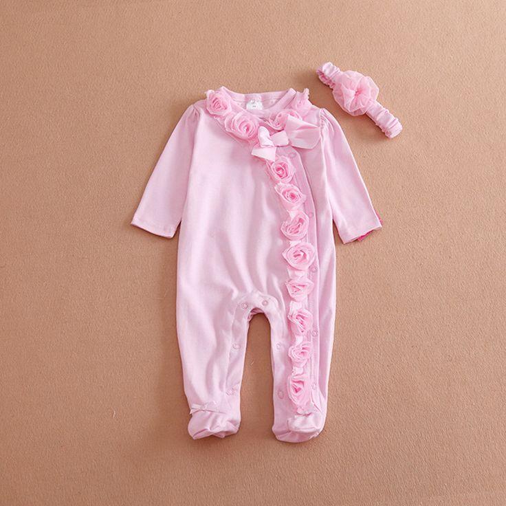 Cute Newborn Baby Girl Clothes New Style Girls Princess Bow/Flowers Romper & Headband 2PC Long Sleeve Romper Clothing Set