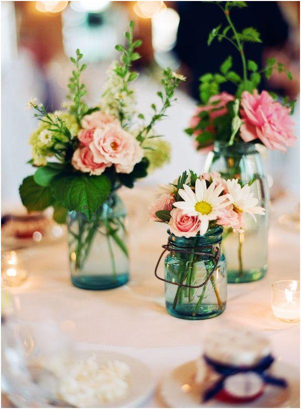 Outdoor Wedding Flowers Mason Jars
