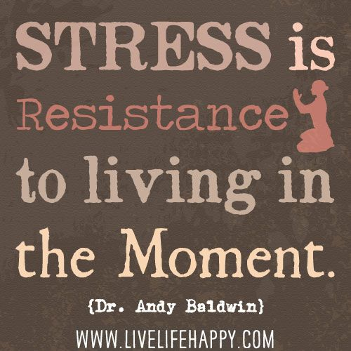 Good Quotes About Living In The Moment: Stress Is Resistance To Living In The Moment. -Dr. Andy