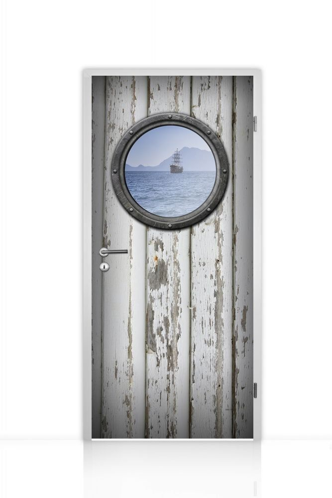 Türtapete selbstklebend einteilig (Bullauge alte Tür weiß Schiff auf See) 93x205cm