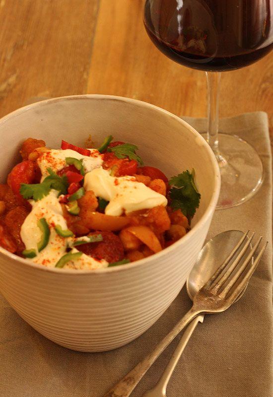 Spicy Butternut, Chickpea & Chorizo Stew. Comfort Food