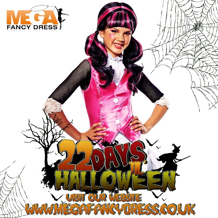 Only 23 days left until Halloween!!!  Our featured fancy dress of the day is the Girls' Draculaura costume!   Is your little one a fan of Monster High? Then this fangtastic outfit is ideal for any girls Halloween party this year, so transform her into the prettiest vampire around!  Check it out here! http://www.megafancydress.co.uk/girls-draculaura-monster-high-costume.html