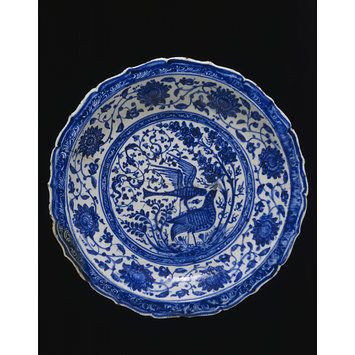 Dish      Object:      Dish     Place of origin:      Iran (possibly Tabriz, made)     Tabriz, Iran     Date:      1500-1550 (made)     Artist/Maker:      Unknown (production)     Materials and Techniques:      Fritware, underglaze painted in blue under a transparent alkaline glaze