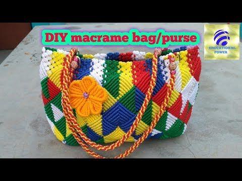DIy how to make macrame bag/macrame purse/ladies designer purse/Educational power - YouTube