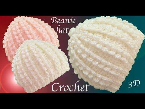 Gorro a Crochet punto trenzas verticales en 3D tejido tallermanualperu - YouTube