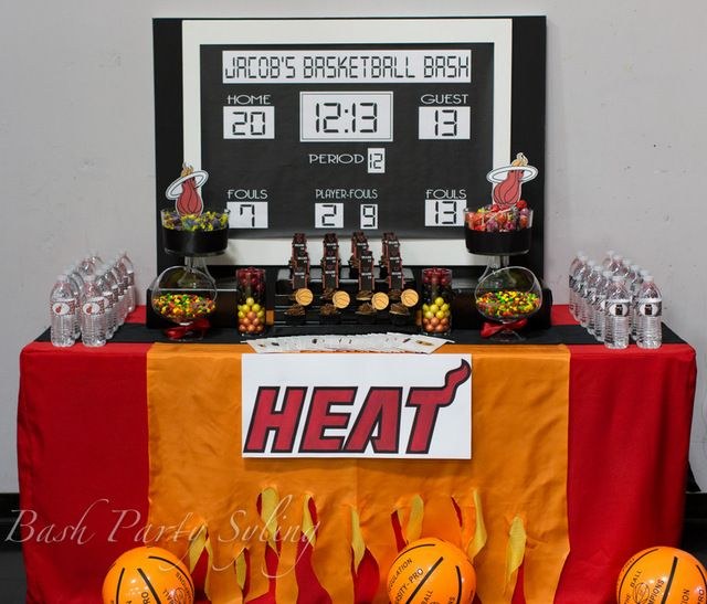 What a great backdrop at a Basketball Party!  See more party ideas at CatchMyParty.com!  #partyideas #basketball