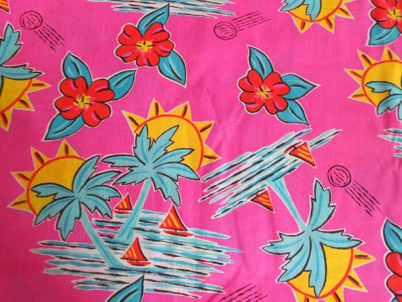 SALE Fabric Vintage Tropical Hawaiian Print by violetrosesvintage, $14.00