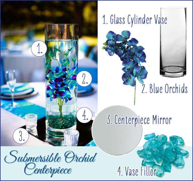 Gorgeous Blue Orchid Submersible Centerpiece. DIY Wedding easy flower arrangements.