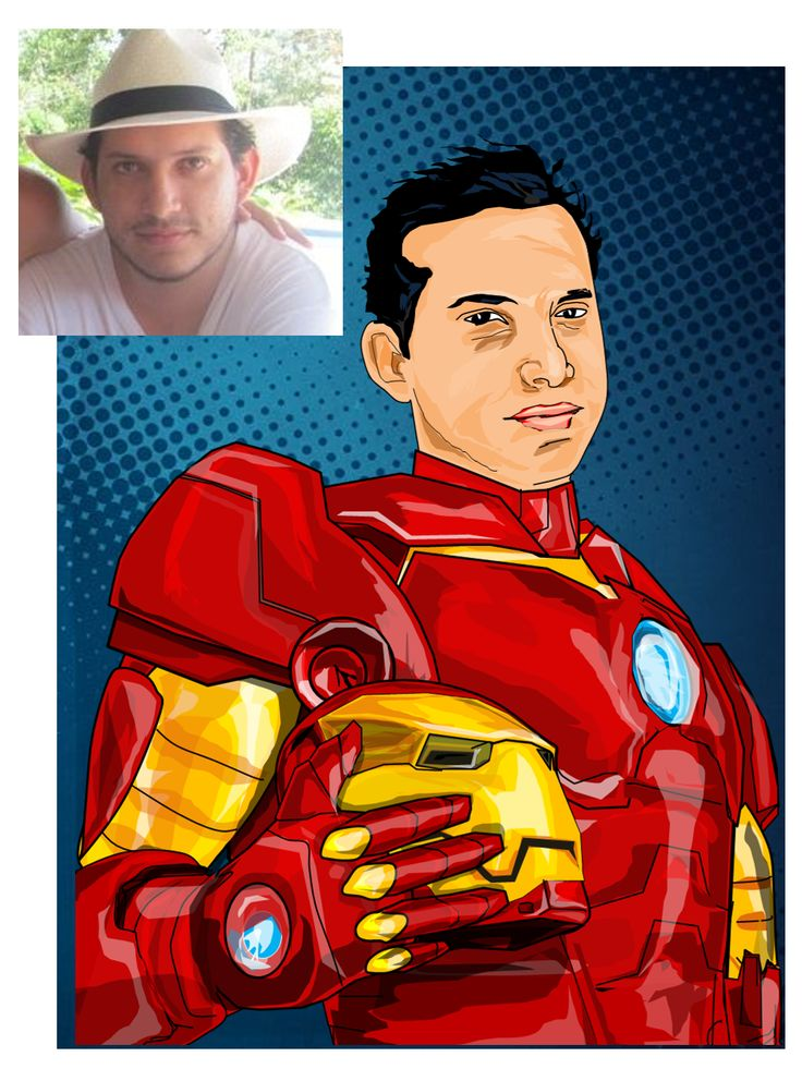 My firend in Marvel style (Power Point drawing)