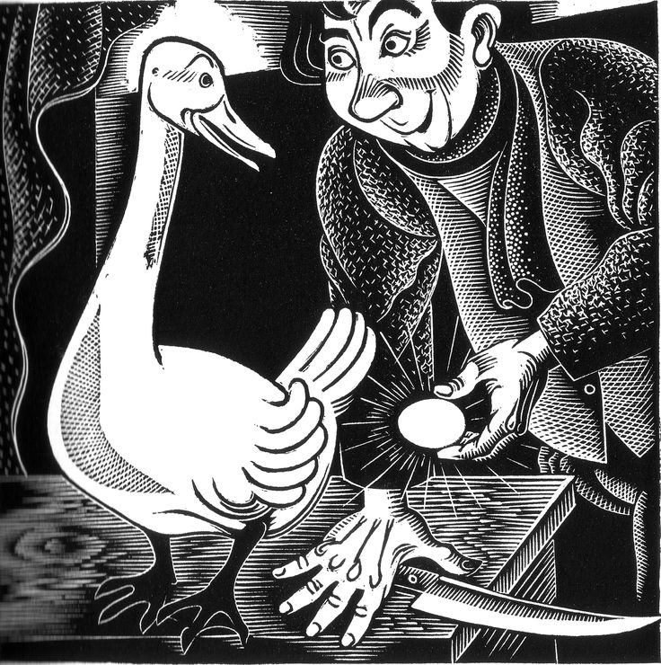 """Aesop's Fables: The Goose with the Golden Eggs. Illustrated by Boris Artzybasheff (1933). """"Greed oft o'er reaches itself."""""""