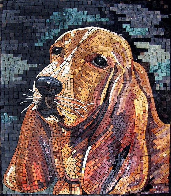 Dog - by Phoenician Arts; hand-made mosaic with all natural stone and hand-cut tiles; photo by Phoenician Arts, via Flickr