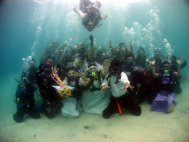 Group underwater wedding