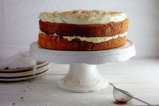 A twist on the classic milk tart. Vanilla-Cinnamon sponge topped with Milk tart (custard) filling finished with ground cinnamon.