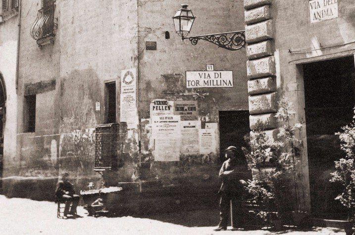Via di Santa Maria dell'Anima (1862) incrocio Via di Tor Millina, vicino a Piazza Navona.