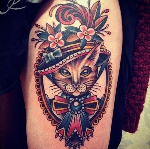 Cat dressed as a lady with hat american traditional tattoo