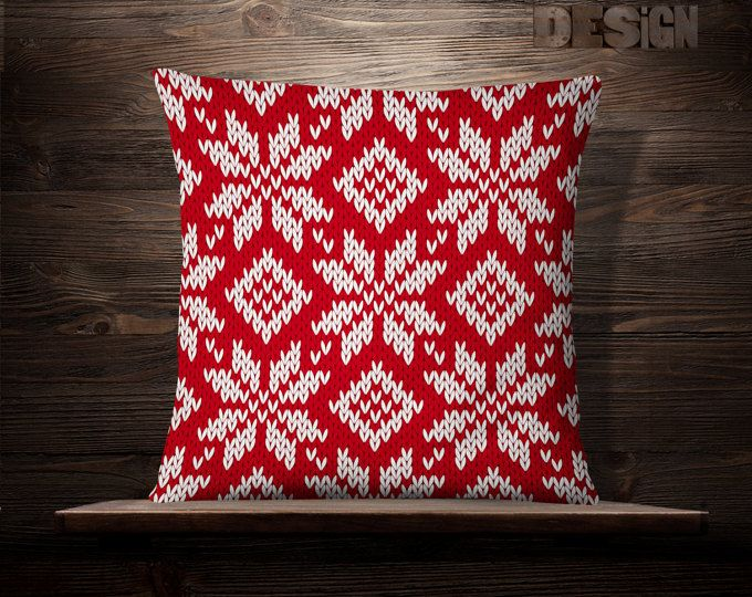 Snowflakes Red Pillow | Christmas Pillow | Holiday Pillow | Christmas Decoration | Christmas Throw Pillow | Christmas Decor | Holiday Pillow
