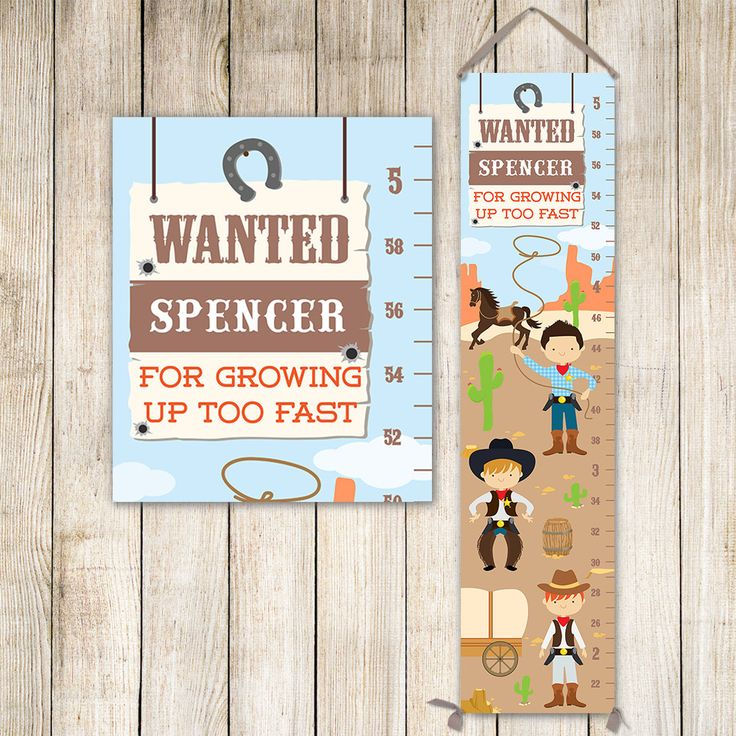 Cowboy Growth Chart Personalized Canvas - Western Kids Art, Cowboy Nursery, Wild West Nursery, Height Chart, Boy Gift - GC4669S by JoliePrints on Etsy