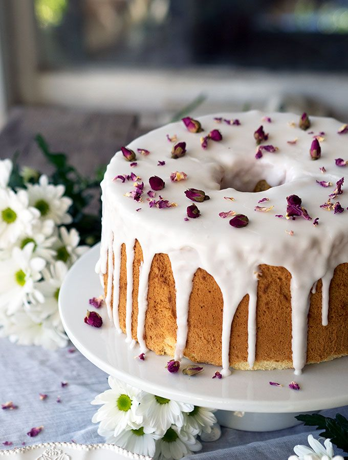 Vanilla Rose Chiffon Cake Recipe. Light as air vanilla chiffon cake drizzled with rosewater icing and decorated with dried rose petals.