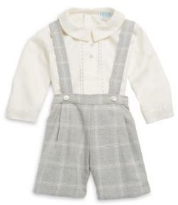 Luli and Me Baby's Two-Piece Designer's Favorite Spread Collar Top and Plaid Suspender Set