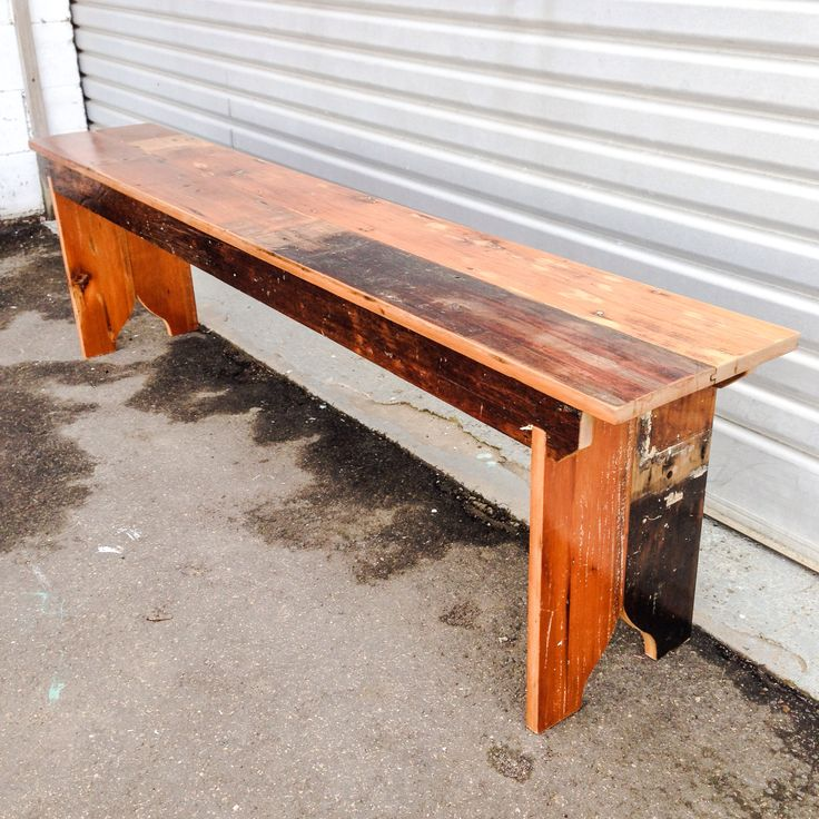 Recycled floor boards have been left in their original condition to make this 1800mm long bench seat