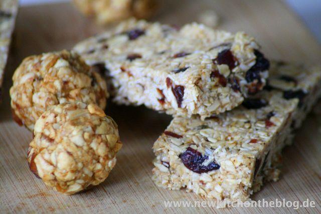 Energiekugeln mit Apfel und Pekannüssen + Müsliriegel mit Kokos und Cranberry | New Kitch on the Blog