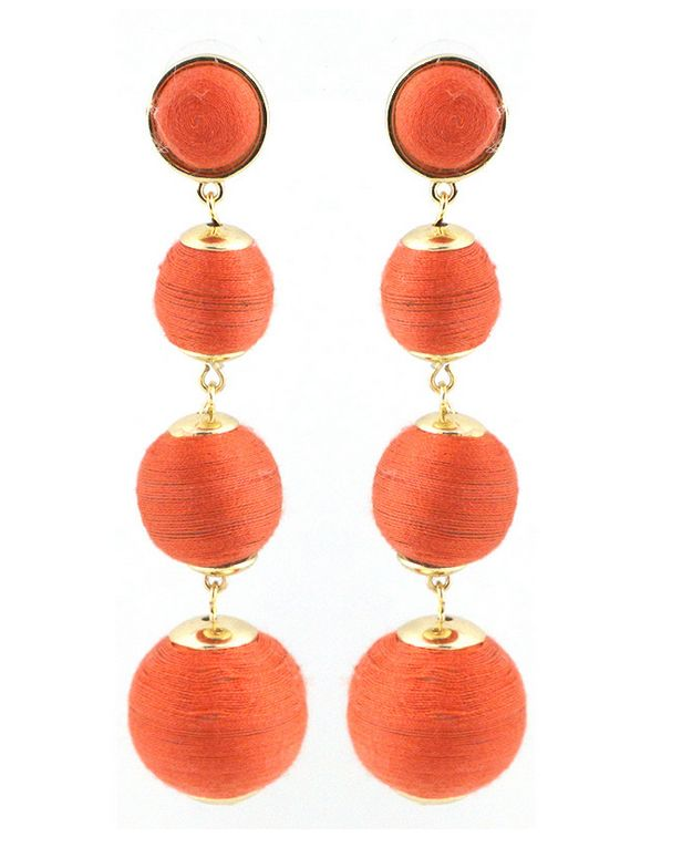 Orange Bon Bon Threaded Ball Earrings- also available in white, natural, turquoise, green, pink hombre, silver- in different sizes too! Mini, Medium and Classic https://www.bettinascollection.com/products/orange-bon-bon-threaded-ball-earrings
