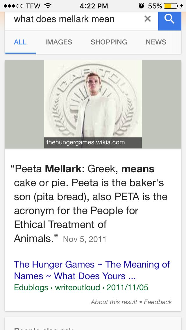 Well.... This means that bread cake lives in bread. (Peeta Mellark lives in Panem)