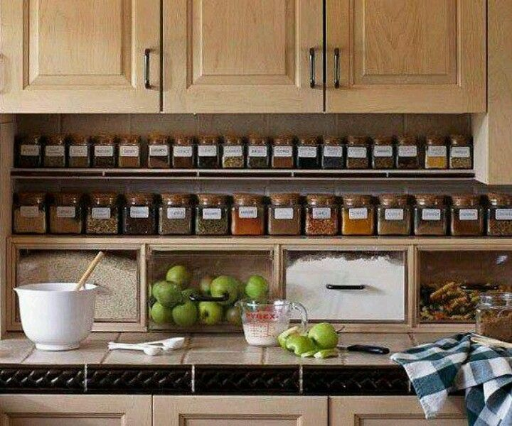 And Love The Flour Sugar Bins I Especially Love The Spice Organization They Re Easy To Read Innovative Kitchen Organization And Storage Diy Projects