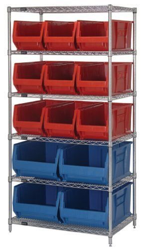 Wire Shelving System 30 x 36 x 74, 6 Shelves, 9 QUS973, 4 QUS974 BLUE Bins by Quantum. $865.55. . Optional clear plastic window increases bin capacity and provides a quick view of the bin contents. Bins are autoclavable up to 250F and are resistant to extreme cold. Heavy duty, 20 gauge shelving is engineered for superior strength and are triple bent on all four sides, allowing 400 lb load capacity per shelf. Easy quick assemblyThese extra large stacking containers offer a...