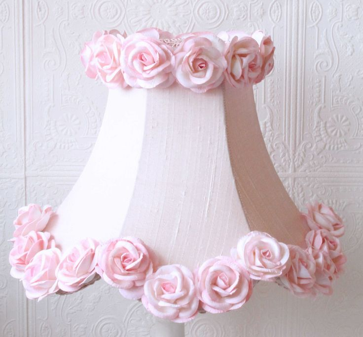 This elegant bell-shaped, scalloped kids lamp shade is made with the finest pink Dupioni Silk and adorned with rows of gorgeous large pink Mulberry paper roses. This girl's lamp shade is the perfect s