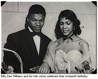 Born April 6, 1937 in New York City, Billy Dee Williams and twin sister Loretta celebrate their sixteenth birthday.