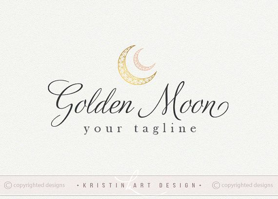 Gold moon logo design Photography logo Kids by KristinARTdesign