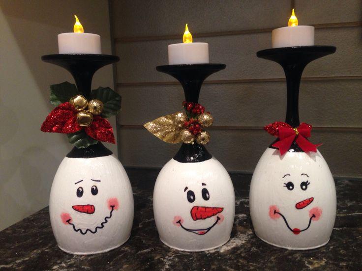 Diy wine glass snowman tea light candle holder