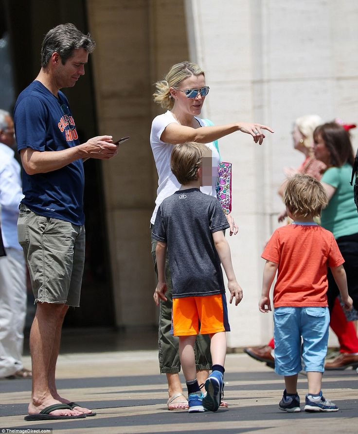 Sunshine and smiles: Megyn Kelly was spotted with husband Douglas Brunt (right) and their three children in the Lincoln Center area of Manhattan, near the south-west corner of Central Park, on Monday