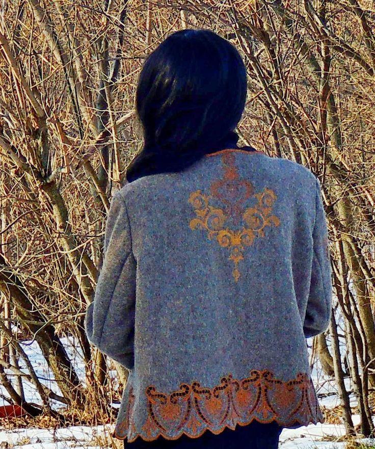 """Купить Жакет из натуральной шерсти с вышивкой в технике """"ришелье"""" (№229) - коричневый, жакет жеский"""