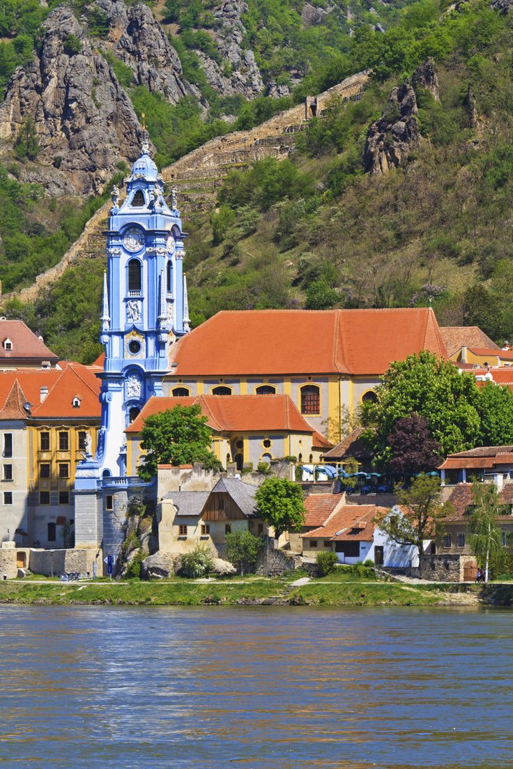 Durnstein Baroque Church on the river danube (Wachau Valley)