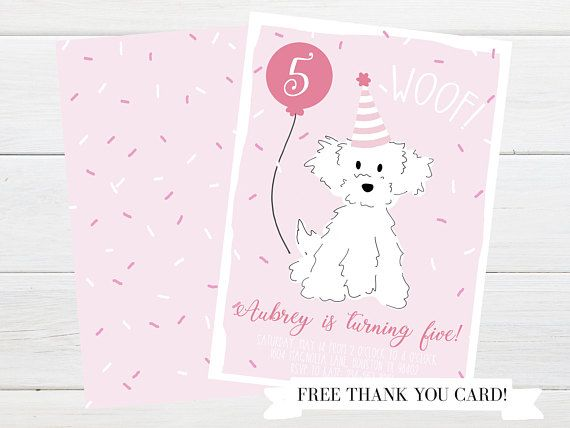 Pink Poodle Puppy Dog Party Invitation
