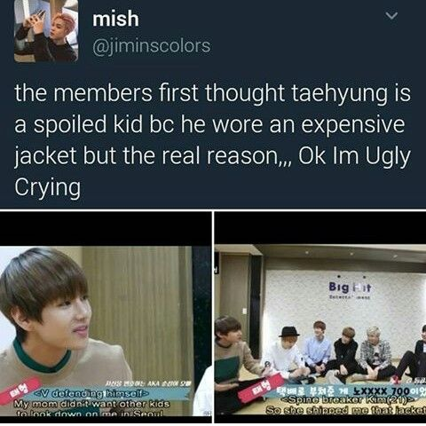 Everyone thought Tae was spoiled because he wore an expensive jacket, but the real reason is aww