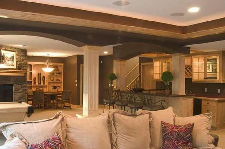 Beautiful basement for the home pinterest for Beautiful basements pictures